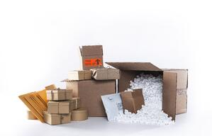 Boxes and packages arranged on a white background