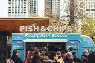 Small business fish and chips food truck