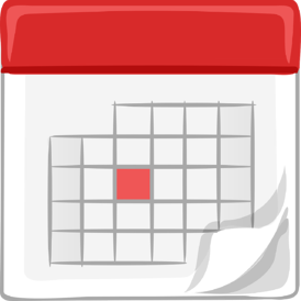 Calendar with day highlighted red