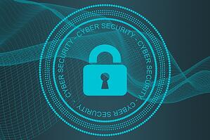 Security lock in circles with the word cybersecurity around it