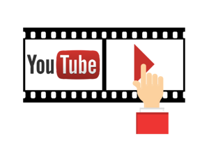 Filmstrip with YouTube logo and hand touching play button