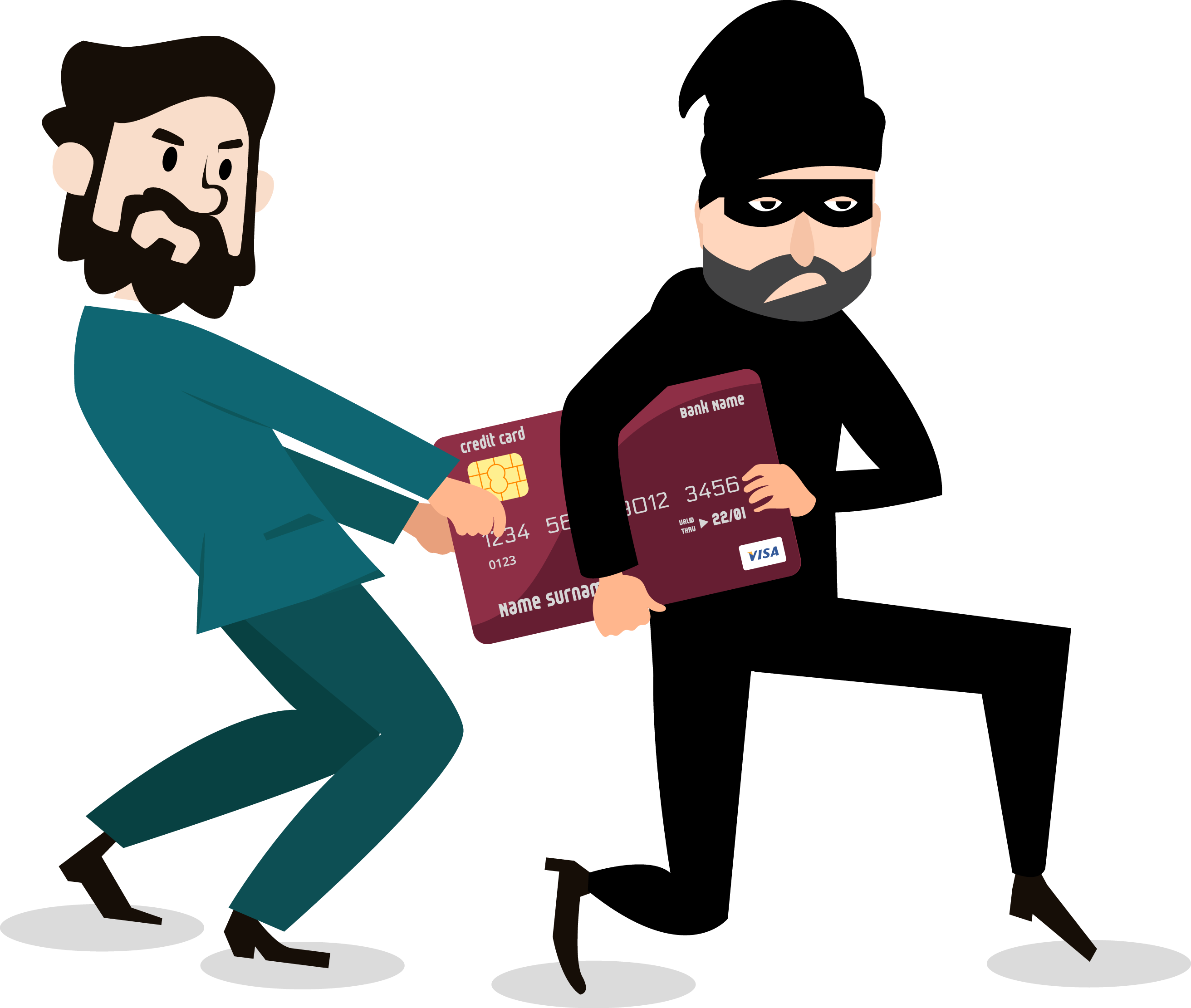 Cartoon of man taking back credit card from a thief