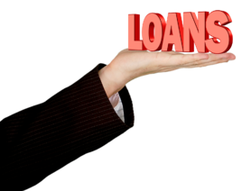 """A hand holding the word """"loans"""""""
