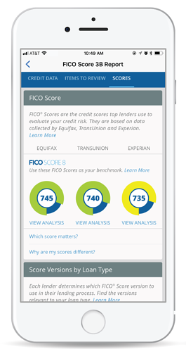Screenshot of FICO scores from Equifax, TransUnion and Experian on iPhone