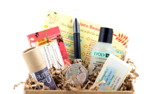 Beauty products in a box as part of a subscription service